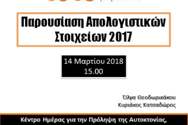 Παρουσίαση Απολογιστικών Στοιχείων 2017 – Κέντρο για την Πρόληψη της Αυτοκτονίας